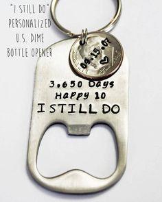 10 year anniversary gift for HIM. TEN year anniversary. Gift for Him. Bottle opener keychain. 10 Year Anniversary. 10 Years. 3,650 days