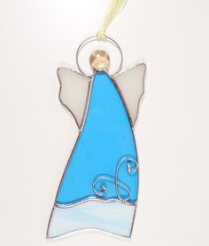 Stained Glass Suncatcher Angel 6 inch tall, blue and white color glass, silver color metal, handmade Stained Glass Angel, Stained Glass Ornaments, Stained Glass Suncatchers, Stained Glass Projects, Angels Among Us, How To Make Ornaments, Silver Color, Blue And White, Artwork