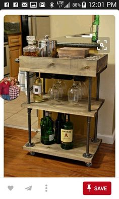 This Three Tier Style Bar Cart Made From Solid Wood And Steel Pipe Will Accommodate Your Barware Or Kitchen Storage Needs Can Be