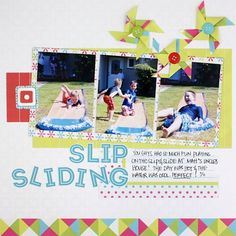 Candy Shop Slip Sliding Summer Scrapbook Layout Idea from Creative Memories, Detailed Instructions: http://projectcenter.creativememories.com/photos/our_newest_project_ideas/candy-shop-slip-sliding-summer-scrapbook-layout-idea.html