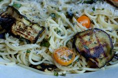 Pasta autunnale with roasted eggplant and zucchini, tomatoes and basil by Eve Fox, Garden of Eating blog by Eve Fox,
