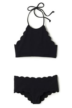 Black Scallop Ruched Tank Bikini Bathing Suits