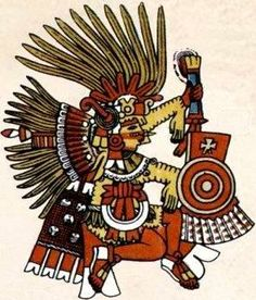 XIPE-TOTEC was believed by the Aztecs to be the god that invented war.  His insignia included the pointed cap and rattle staff, which was the war attire for the Mexica emperor. He had a temple called Yopico within the Great Temple of Tenochtitlan.