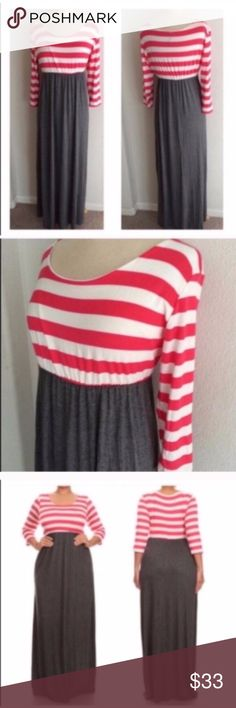 "Striped maxi dress *runs slightly small Striped maxi dress. Rayon/ spandex combo with an elastic waist. Juniors sizing- I recommend ordering one size up.  XL: L 59"" B 38""  ⭐️This item is brand new without tags 💲Price is firm unless bundled ✅Bundle offers Dresses Maxi"