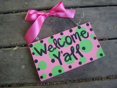 Welcome y'all sign  pink and green by whatsyoursigndesigns on Etsy, $12.00