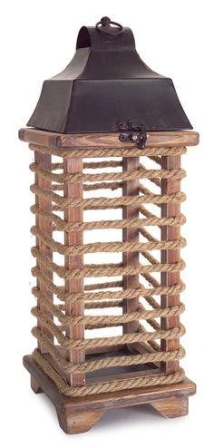 Rope Wrapped Wood Lantern