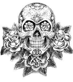 Galerie de coloriages gratuits coloriage-tatouage-crane-squelette. Image de type tatoo d'un crâne accompagné de roses et autres détails végétaux, très original