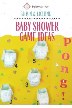 For maximum fun I recommend no more than four games per shower so that momma-to-be can have time to open her wonderful gifts. Be sure to check out our list of 30 Best Baby Shower Games. #babyjourney #babyshowergameideas #babyshower #gameideas Fun Baby Shower Games, Baby Shower Parties, Play Doh Baby, Baby Jeopardy, Baby Word Scramble, Baby Prediction, Baby Words, Up Balloons, Baby Bottles