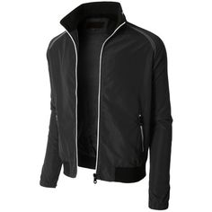LE3NO Mens Lightweight Windbreaker Fully Lined Zip Up Bomber Jacket ($27) ❤ liked on Polyvore featuring mens, men's clothing, men's outerwear and men's jackets