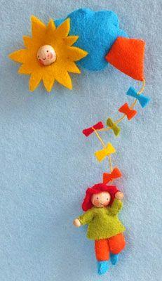 atelier pippilotta, vilt, vliegerpopje  felt, kite child