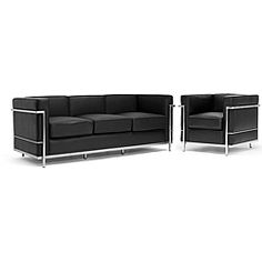 @Overstock - Contemporary design inspired by the Le Corbusier furnishings updates any home or office decor Set includes one sofa and one chair Sleek black leather upholstery enhances your living room furniture collectionhttp://www.overstock.com/Home-Garden/LC-Black-Leather-Sofa-Chair-Set/2287568/product.html?CID=214117 $1,067.03