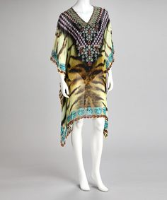 Take a look at this Kristals Purple & Green Tiger Cape-Sleeve Cover-Up by Kristals on #zulily today!