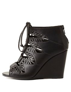 Laser Cut-Out Lace-Up Wedges: Charlotte Russe #CRshoecloset #wedges