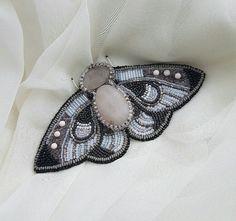 Night Moth.Handmade bead embroidered brooch $50 , #Handmade, #Beading, #Embroidering, #Brown, #Jewelry, #Jewellery, #Gift, #Brooch, #White Handmade Accessories, Margarita, Moth, Jewelery, Beading, Brooch, Night, Rings, Jewlery