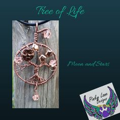 Tree of Life Pendant, 'Moon and Stars' www.facebook.com/PinkyLaneDesigns