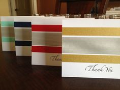 "handcrafted thank you card set ... Washi Tape design ... luv the elegant, graphic and masculine look of these cards ... one with band of gray and white striped washi with a strip of solid color on both sides ... great script font for the ""Thank You"" ... available from tmariecrafts on Etsy ..."