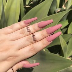 Acrylic Nails Coffin Pink, Simple Acrylic Nails, Coffin Nails, Matte Pink Nails, Dope Nails, Swag Nails, Basic Nails, Acylic Nails, Minimalist Nails