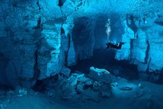 Orda Cave, Russia. Largest underwater gypsum cave in the world