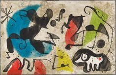 Els Gossos V ( The Dogs V)    c 1979  Artist: Joan Miro (1893-1983, Spain)  Original etching & aquatint on Arches woven paper.