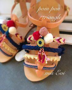 Pom pon triangle!!!! Handmade leather sandals Pom Pon, Greek Sandals, Handmade Leather, Leather Sandals, Triangle, Birthday Cake, Desserts, Diy, Food