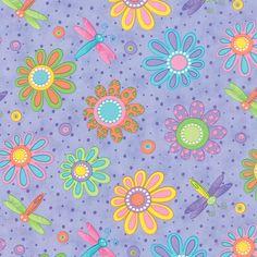 Moda Fabric HI-DE-HO Me & My Sister 1/2 Yard Lavender Dragonfly Floral 22254-14 by SeamsSewCharming on Etsy