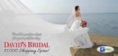On behalf of AC Pro, find the perfect dress for your perfect day by entering to win a $1,000 shopping spree at David's Bridal! Ends March 31st, 11:59 pm PST. Click the link to enter this giveaway through blog! Enter for your one-time entry and get 3 extra entries for every friend who signs up through your share on Facebook! #sweepstakes #wedding #bride