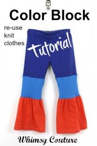 Free Tutorial   Color Block Knit Pants From Old T Shirts