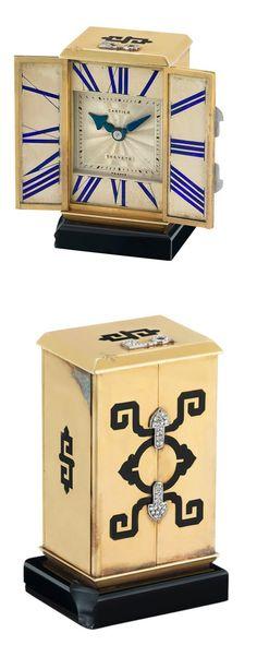 Art Deco Gold, Platinum, Enamel and Black Onyx Miniature Desk Clock, Cartier, France, European Watch & Clock Co. Circa 1928,