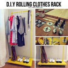 DIY clothing rack for clothes planning.