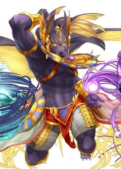 Anubis from the addictive mobile game Puzzle & Dragons! Art by @birry41