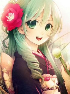 Pretty anime girl in Kimono with a pretty flower in her hair!