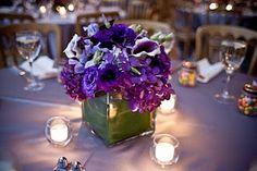 Purple hydrangeas, eggplant calla lilies, Picasso calla lilies, purple lisianthus, and purple sweet peas.