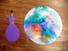 Another bird we learned about this week was the peacock. The art project was so cute. First the kids colored a coffee filter with markers an. Nanny Activities, Animal Activities For Kids, Infant Activities, Art For Kids, Crafts For Kids, Arts And Crafts, May Themes, Art Projects, Projects To Try