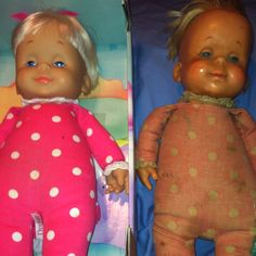 Drowsy - my first baby doll 1967 and a newer one from the late 1990s  I had one, too. She was my favorite doll of all time. Thanks for reminding me of her!