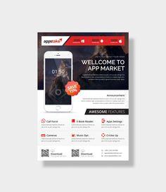 App Market Stylish Business Flyer Design Template 001535