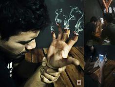 Phonegrapher conceptual manipulation smoke hand