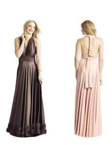 Choose from a variety of skirt styles and more than a dozen colors, then twist and tuck these TWOBIRDS convertible-tie dresses any way you like (from $270 at Bella Bridesmaid, Boston, 617-424-7231, bellabridesmaid.com).
