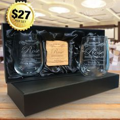 The ultimate gift pack for your bridesmaids and maid of honour. This set consists of two high quality 500ml stemless wine glasses laser engraved plus two matching engraved wooden coasters. With the option of presenting in a beautiful silk lined, padded gift box. Professionally laser engraved with the design of your choice, add a unique touch to your big day