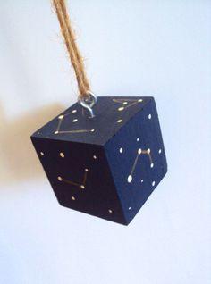Constellation Cube Ornament Hanging Stars & by ElizabethanFolkArt