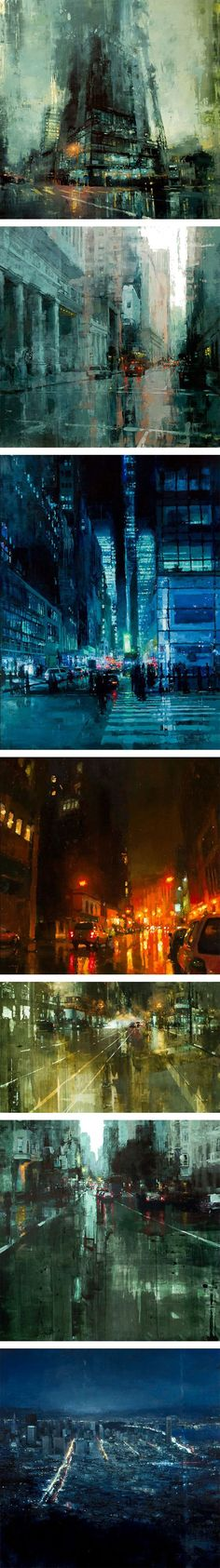San Francisco-based artist Jeremy Mann lives and works in San Francisco where he executes these sublime, moody cityscapes using oil paints. To create each work he relies on a wide range of techniqu…
