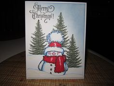 "The image is a Penny Black stamp, ""Snowy""! The sentiment is Tim Holtz! I love how fancy it is! TFL!"