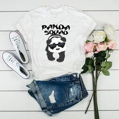 Panda Tshirt Panda Bear T Shirt Panda Squad Funny Panda Shirt Panda Lover Tee Love Pandas Shirt - Panda Shirt - Ideas of Panda shirt #PandaShirt -   Funny Panda Squad DETAILS:Printed on a high-quality materials our products are soft comfortable flattering and easy to wear. These items are made to order and printed direct to garment for great quality that holds up over time and wear.  If a light color design is chosen with a white garment we will darken the design to ensure proper visibility. The Panda Shirt, Bear T Shirt, Unisex Fashion, Panda Bear, Hooded Sweatshirts, Shirt Style, Colorful Shirts, Graphic Sweatshirt, T Shirts For Women
