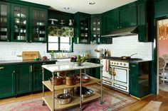 dark green kitchens - Bailey McCarthy's Home; Photog: Hector Sanchez; Prop Stylist: Sarah Cave - manthoor via atticmag