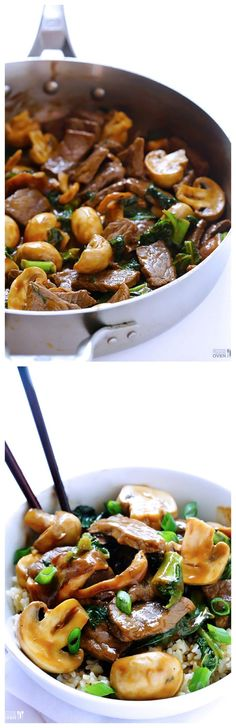Ginger Beef, Mushroom & Kale Stir Fry -- an easy 30-minute meal that's always a crowd favorite! | gimmesomeoven.com #steak #stirfry