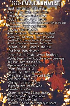 Essential Autumn and Fall playlist 2016