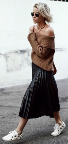 Pleated skirts + Mary Seng + style + chunky knitted sweater + ultimate autumnal piece +  Sweater: Revolve + Skirt: Zara + Bag: Coach + Sneakers: Saint Laurent +