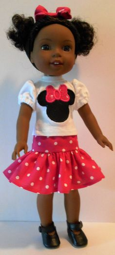 Minnie inspired outfit fits Wellie Wishers 14 by KathyAnneDesigns