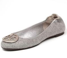 Tory Burch Reva Grey Flannel Ballet Flat