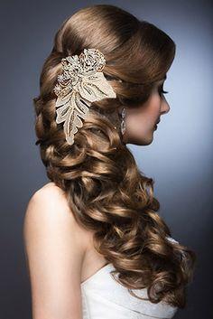 Bridal hair flower Bridal headpiece pearl crystal by GlamDuchess