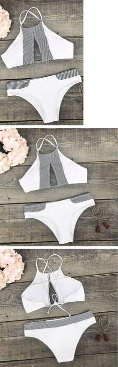 White Striped Hollow Halter Bikini